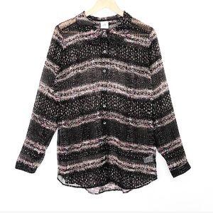 Cabi Paris Blouse 3249 Button Up Sheer Black Tan M